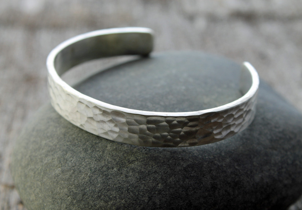 Artisan Hammered Sterling Silver Cuff Spiral River Jewelry