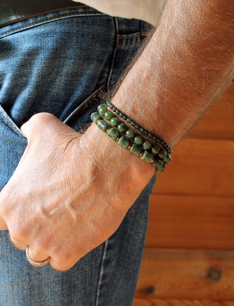 Mens Nephrite Jade Stretch Bracelet Spiral River Jewelry