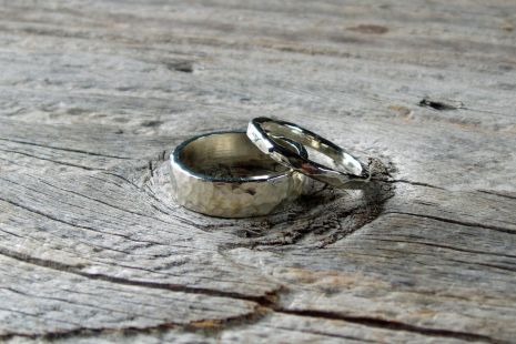 artisan hammered sterling silver wedding band set
