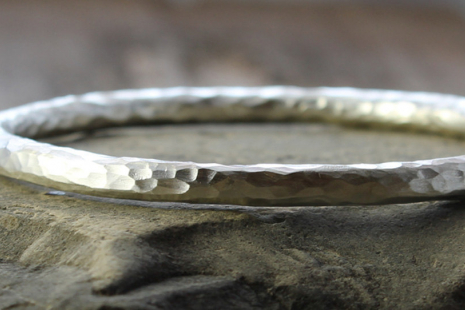 chunky artisan hammered sterling silver bangle