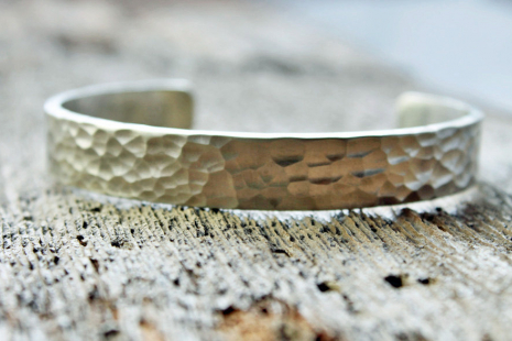 artisan hammered sterling silver cuff