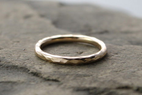 hammered 14k gold wedding band