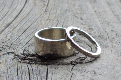 hammered sterling silver wedding band ring set