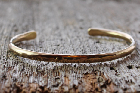 artisan hand forged and hammered 14k gold cuff