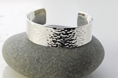 mens wide and thick hammered sterling silver cuff