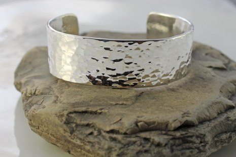 mens wide hammered sterling silver cuff