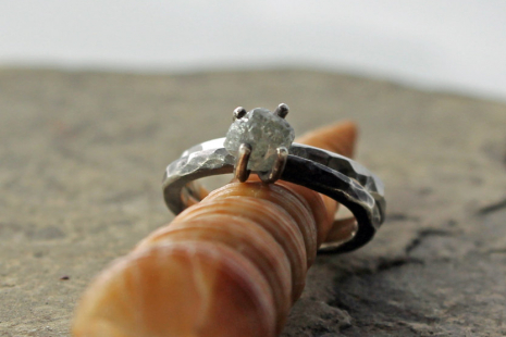 rough diamond and sterling engagement ring & wedding band set