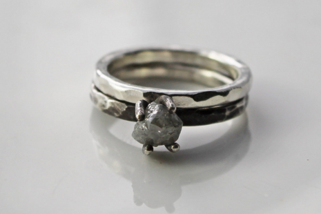 rustic raw diamond engagement ring and wedding band set in sterling sil