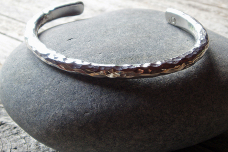 Mens Hammered Sterling Silver Cuff Spiral River Jewelry