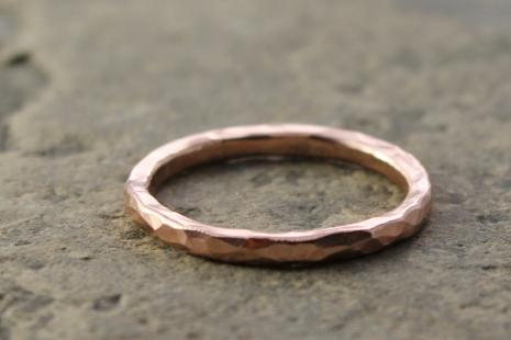 artisan recycled 14k rose gold hammered wedding ring
