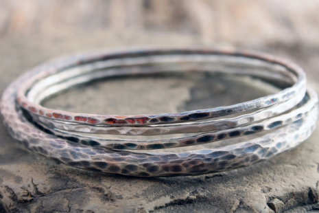 oxidized sterling silver stacking bangles