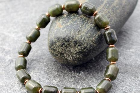 mens Canadian nephrite jade bracelet w/copper