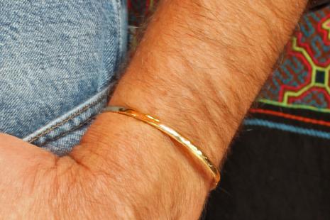 hammered 14k gold cuff