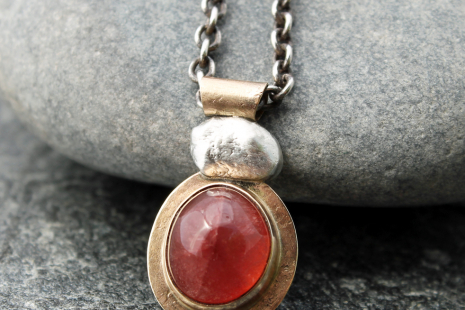 designer strawberry quartz necklace with 14k gold and sterling silver