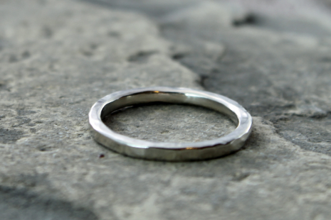 artisan hammered 14k white gold wedding band with recycled gol