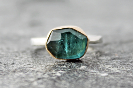 indicolite blue tourmaline ring w/ 14k gold and sterling silver