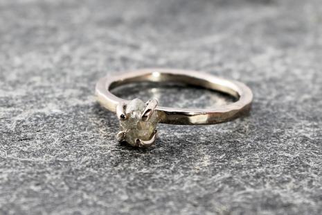 bespoke raw diamond engagement ring