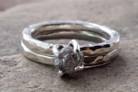 raw diamond ring set