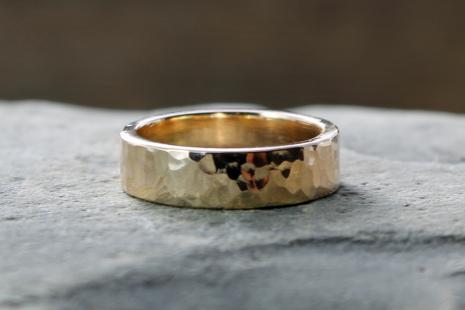 rustic mens wide artisan hammered 14k gold wedding band