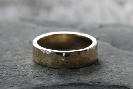 rustic mens wide artisan hammered 14k gold wedding ring