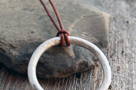 artisan chunky hammered sterling silver circle necklace