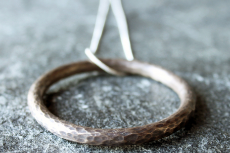 hammered oxidized sterling silver circle pendant