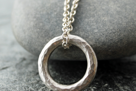 fa19825673c50 artisan silver circle pendant with hammered sterling silver