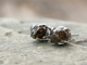 rough brown conflict free diamond post earrings w/ 14k white gold