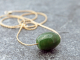Canadian nephrite jade drum bead necklace w/ delicate gold filled chain