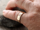 rustic mens wide artisan hammered 14k gold wedding band