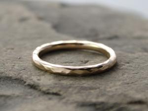 hammered 14k gold wedding band
