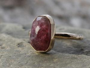 rose cut red tourmaline & 14k gold ring