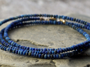 tiny hand cut matte lapis lazuli wrap bracelet