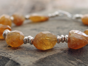faceted organic heliodor bracelet w/ sterling silver accents