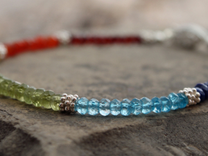 rainbow chakra bracelet w/ faceted gemstone & sterling silver