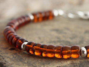 baltic amber rondelle and sterling silver bracelet