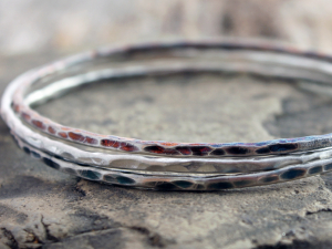 oxidized oval sterling silver stacking bangles