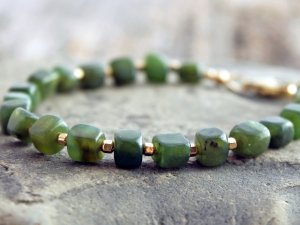 nephrite jade nugget bracelet with gold filled accents