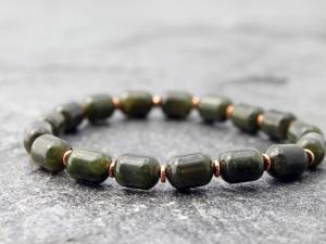 mens BC nephrite jade stretch bracelet