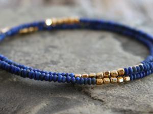 delicate matte lapis lazuli and gold accent wrap bracelet