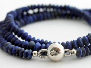matte lapis lazuli wrap bracelet
