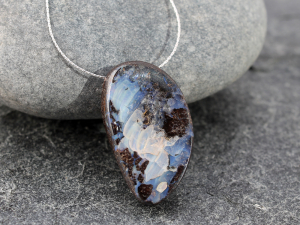 boulder opal necklace with delicate sterling silver chain