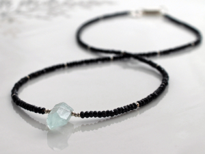 aquamarine & black spinel necklace with silver