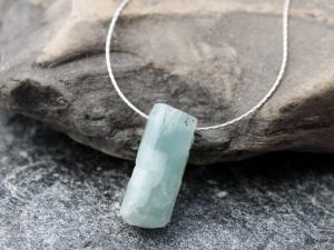 minimalist raw aquamarine necklace