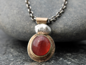artisan strawberry quartz necklace with 14k gold and sterling silver