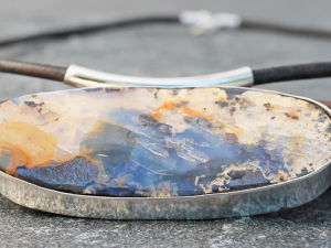 bold boulder opal necklace w/ sterling silver & leather
