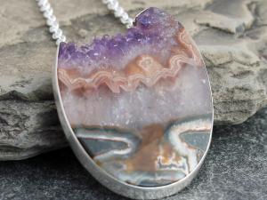 amethyst druzy egg statement necklace w/ sterling silver