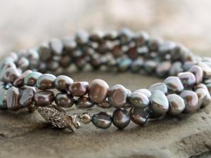 silver purple freshwater pearl 3-wrap bracelet