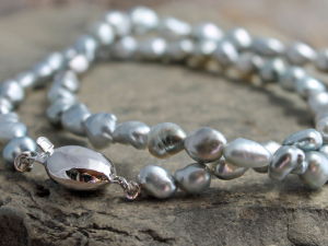 Silver Tahitian Keshi Pearl Necklace with 14k White Gold Clasp