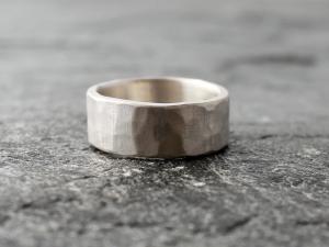 8mm wide hammered palladium sterling silver wedding band